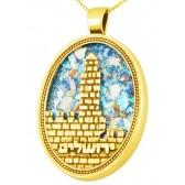 Roman Glass 'Jerusalem - Tower of David' Oval 14k Gold Pendant - Hebrew