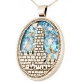 Roman Glass 'Jerusalem - Tower of David' Oval Sterling Silver Pendant - Hebrew