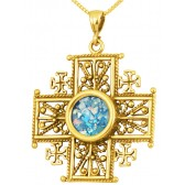 Roman Glass 'Jerusalem Cross' Decorated Five-Fold Cross Pendant - 14 Gold - Holy Land Jewelry