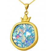 Roman Glass 'Pomegranate' Pendant - 14k Gold - Israeli Jewelry