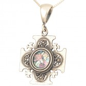 'Jerusalem Cross' Pendant - Roman Glass and 925 Sterling Silver - Made in the Holy Land