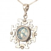 'Jerusalem Cross' Cut-Out Pendant - Roman Glass and 925 Sterling Silver - Made in the Holy Land