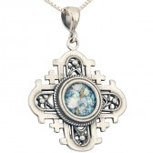'Jerusalem Cross' Cut-Out Rounded Pendant - Roman Glass and 925 Sterling Silver - Made in the Holy Land