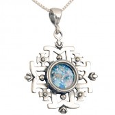 'Jerusalem Cross' Five-Fold Pendant - Roman Glass and 925 Sterling Silver - Made in the Holy Land
