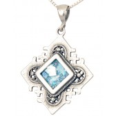'Jerusalem Cross' Squared Pendant - Roman Glass and Sterling Silver Pendant - Made in the Holy Land
