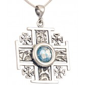 Roman Glass 'Jerusalem Cross' Five-Fold Rugged Cross Pendant - Sterling Silver - Made in the Holy Land