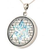 Roman Glass 'Jerusalem Walls - Star of David' Round Sterling Silver Pendant - Made in Israel