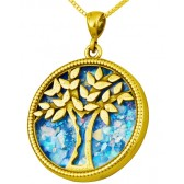Roman Glass 'Tree of Life' Pendant - 14k Gold - Israeli Jewelry