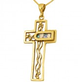 Roman Glass 'Trinity Cross' Pendant - 14k Gold - Made in the Holy Land