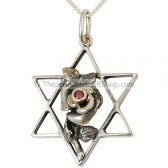 Genuine Ruby 'Rose' on Silver Star of David Pendant