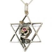 Rose on Star of David Pendant