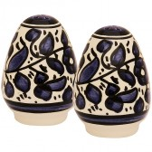 Armenian Ceramic Blue Flowered 'Salt and Pepper' Pots - Handmade in Jerusalem