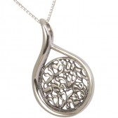 'Shema Yisrael' Hebrew Cut Out inside Teardrop Frame Sterling Silver Pendant