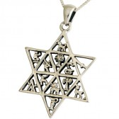 12 Tribes of Israel inside Star of David Pendant - sterling silver