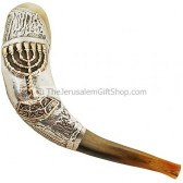 Silver Menorah Shofar - Made in Israel