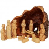 Olive Tree Branch Nativity Log from Bethlehem With Natural Olive Wood Bark - 12 Piece Hand Carved Figures Set