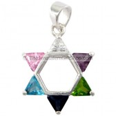 Star of David CZ colored pendant