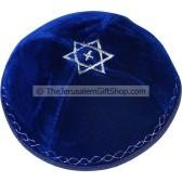 Velvet Star of David with Cross Kippa - Blue