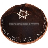Velvet Star of David with Cross Kippa - Brown