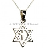 Star of David with Cross Pendant - Sterling Silver