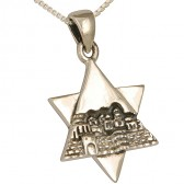 Sterling Silver Layered 'Star of David' with Jerusalem Old City Silhouette Pendant