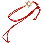 Star of David with Crystals on a Red String Adjustable Bracelet