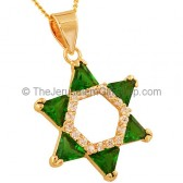 Goldfill Star of David with Zircon and synthetic Emerald Pendant