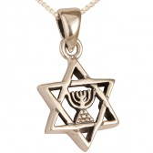 Sterling Silver Star of David with Menorah Pendant