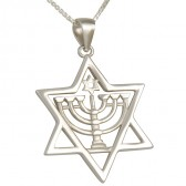 Star of David with Menorah 'Shamash - Helper' inside Star of David Pendant