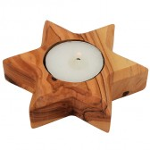 Olive Wood Star of David Candle Holder from Israel