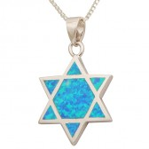 Sterling Silver Star of David with 7 piece Opal Pendant