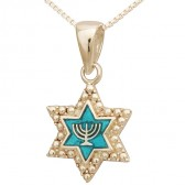 Sterling Silver Star of David with Menorah on Turquoise Pendant