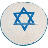 Star of David Kippah - White Cotton