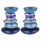 Yair Emanuel 'Stone Tower' Anodized Aluminum Candlesticks - Blue