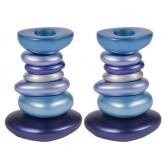 Yair Emanuel 'Stone Tower' Anodized Aluminum Candlesticks - Blue