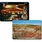 Set of 6 Placemats - Western Wall Second Temple - Kotel Plaza - Hebrew and English - Double Sided