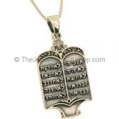 The Ten Commandments Pendant - Silver oxidized finish