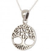 'Tree of Life' Pendant with Roots and Branches formed into Hearts - Sterling Silver