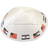 Israeli USA Flags White Kippa