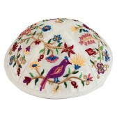 Yair Emanuel | Embroidered Silk Kippah | Garden of Eden Flowers & Birds