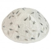 Yair Emanuel | Budding Stems Embroidered Silk Kippah / Yarmulke - Silver White
