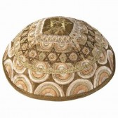 Yair Emanuel | Star of David Embroidered Silk Kippah / Yarmulke - Gold