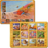 Placemats - Twelve Tribes - 12 Tribes Map - Hebrew and English - Double Sided