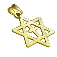 14 Carat Gold Cross within Star of David Pendant