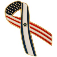 Lapel Pin with American and Israeli Flag tied together in a Ribbon - United States of America with Israel Badge