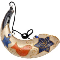 Anointing Rams Shofar Decorated with Menorah and Birds
