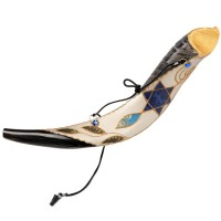 Anointing Yemenite Shofar Decorated with 'Grafted In' Symbol