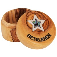 Olive Wood Jewelry Box with Mother of Pearl 'Bethlehem Star' inlay and 'Bethlehem' Engraving - Round