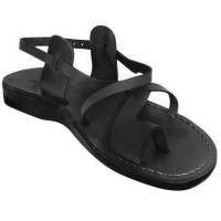 Leather Jesus Sandals - Bethlehem Yeshua Style - Black