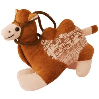 Stuffed Camel Toy with Bridle - with Jerusalem Scene